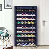 PYXBE Multipurpose Portable Folding Shoes Rack 9 Tiers Multi-Purpose Shoe Storage Organizer Cabinet Tower with Iron and Nonwo