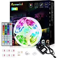 LED Strip Lights with Remote 5M,Romwish Flexible Color Changing Led Lights for Bedroom, 5050 RGB Led Tape Lights with…
