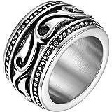 JewelryWe Anello Unisex Uomo Donna Celtico Irlandese Fidanzamento Matrimonio Nuziale Acciaio Inossidabile Colore Argento/Oro,