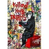 SHBKGYDL Impression sur Toile Impression sur Toile Suivez Vos Rêves Wall Street Art Graffiti Peintures sur Toile Abstract Ein