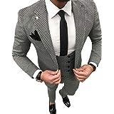 Men's 3 Piece Notch Lapel Plaid Men Suits Slim Fit Groomsmen Tuxedos Jacket(Blazer+Vest+Pant)