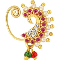 PARNA;Beyond Love Pink White Pearl Ruby Stone Diamond Alloy Gold Plated Peacock Designer Traditional Maharashtrian…