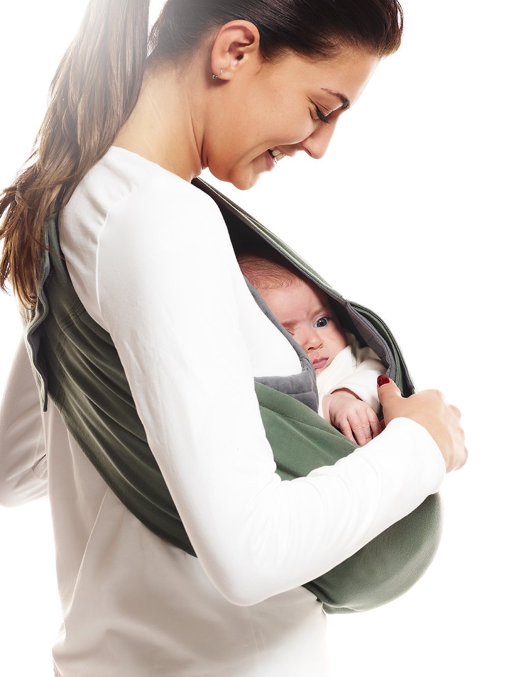 Wallaboo Wrap Sling Carrier Connection, Easy Adjustable, Ergonomic, 3 Carrying Positions, Newborn 8lbs to 33 lbs, Soft Breathable Cotton, 3 Sitting Positions, EU Safety Tested, Color: Green / Grey Wallaboo One size fits all, adjustable in size to fit every mum and dad Can be used for a preemie up to 33 pound child Keeps baby warm in 3 different positions: sleep, sit and active 4