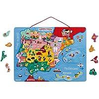 JANOD- Carte d'Espagne Magnétique 50 pcs (Bois), J05478, Multicolor