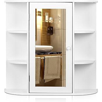 HOMFA Meuble Salle De Bains Armoire Toilette Avec Miroir Suspendue Blanc Type