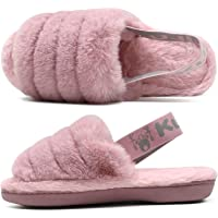 KuaiLu Womens Fluffy Slippers Ladies Furry Sliders Faux Fur Open Toe Warm Fuzzy Sandals with Memory Foam Indoor/Outdoor