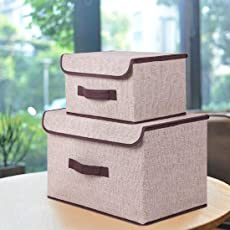 SYGA Set of 2 Sizes Cotton & Liene Dust-Proof Storage Box Organizer for Clothes(Cream)