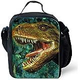 Leberna 3D Print Animal Insulated Lunch Bag with Bottle Holder Adjustable Strap for Kids Dinosaur