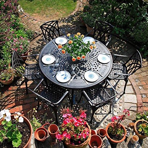 Lazy Susan - AMELIA 150 cm Runder Gartentisch mit 6 Stühlen - Gartenmöbel Set aus Metall, Antik Bronze (APRIL Stühle)