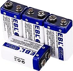 EBL Advanced 9V 1200mAh Lithium Batteries, 4 Packs