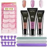 Kit de uñas, 3PCS Nails Extension Builder Gel Glue + 100PCS Acrylic Nail Tips + 3PCS Nail Files + 2PCS Sponge Finger Separato