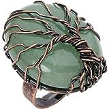Jovivi Anello Regolabile in Rame a Forma di Albero della Vita con Ovale Naturale Cristallo Pietra Preziosa Donna- Avventurina