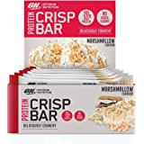 Optimum Nutrition Protein Crisp Bar with Whey Protein Isolate, Low Carb High Protein Snacks with No Added Sugar, Marshmallow, 10 Bar (10 x 65 g)