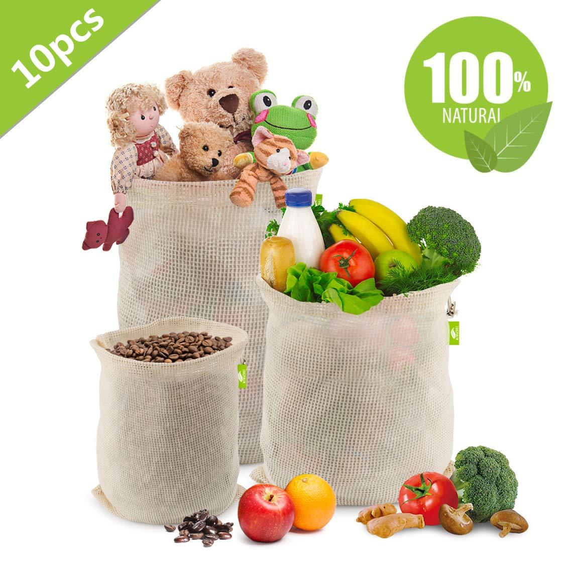 Verdura e Alimentari- 10 Pezzi Sacchetti Verdura Riutilizzabili in Cotone Ecologici Lavabile Borse Frutta Riutilizzabili in Rete con Coulisse per Frutta Ezlife Sacchetti Riutilizzabili Ortofrutta