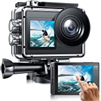 Action cam Doppelbildschirm 4K /30fps WiFi Action Kamera mit Externes Mikrofon, Unterwasserkamera Wasserdicht 40m, EIS…