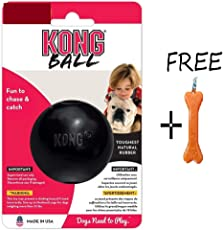 Goofy Tails- Kong Extreme Natural Rubber Ball Dog Toy (Small) with Keychain