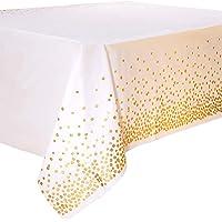 4PCS Nappe de Table de Fête Blanc et Or Jetable pour Table Rectangulaire, Couverture de Table en Plastique Confettis…
