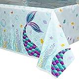 WERNNSAI Mantel del Sirena - 1 Piezas 110 x 180 CM Mantel Desechable de Plástico Impreso, Suministros para la Fiesta para Niñ
