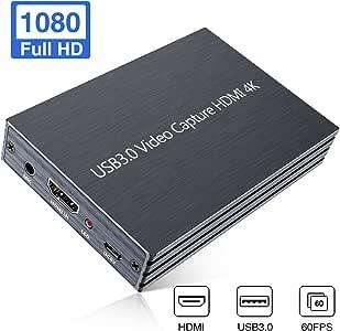 Aokeou Videoaufnahmekarte, 4K HDMI to USB 3.0 Video Capture Karte, unterstützt Videoaufzeichnung Live-Übertragungen, 1080P 60fps Capture streamen, aufnehmen und Teilen for Windows, Linux, OS X System