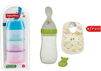 Manan Shopee Fisher-Price Squeezy Silicone Food Feeder 125ml with Fisher-Price 850 ml Milk Powder Container (Color May Vary) and Baby Bib Free