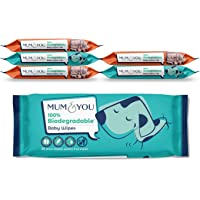 Mum & You 100% Biodegradable Vegan Registered Plastic Free Baby Wet Wipes with Recyclable Packaging, Pack of 6, (336 Wipes) 99.4% Water, 0% Plastic, Hypoallergenic & Dermatologically Tested.