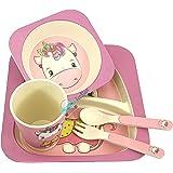 FunBlast Bamboo Fibre Kids Crockery Set Dining Set - Feeding Set for Babies | New Born Baby Utensils and Dishes Kids, Infant