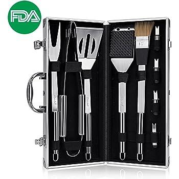 9 Pezzi set attrezzi barbecue inox - Accessori griglia per barbecue, Portatile Kit BBQ utensili in una Custodia alluminio