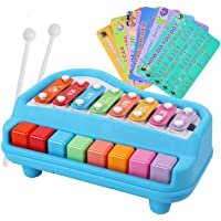 Henicx - Premium Quality Xylophone Piano with 8 Keys , it is Xylophone for Kids as Well as Musical Toys for Baby Boy / Girl Toys Music Keyboard with Playing Sticks (Blue)