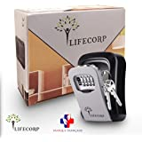 Boite a clef de rangement ultra sécurisé par LIFECORP, pour clefs de maison et de voiture -Coffre fort mural robuste avec code a 4 chiffres - Installation facile
