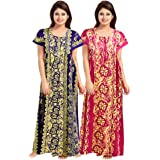 jwf Women Full Length Cotton Nighty (Multicolour L-XL) -Combo Pack of 2 Pieces