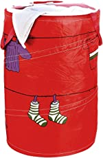 HOKIPO Polyester Blend Multipurpose Foldable & Collapsible Pop-Up Laundry Bag Basket with Zippered Lid and Carry Handle, 50l (Red, NWHK02)