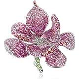 EVER FAITH Spilla Gioiello, Cristallo Austriaco Nuziale Orchidea Fiore Petalo Spilla