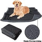 Allisandro Flauschige Hundedecke 80x60cm Grau Hellgrau Katzen Decke mit super Soft weiche zweiseitige Flauschige Haustier-Decke, Überwurf für Hundebett Sofa und Kennel