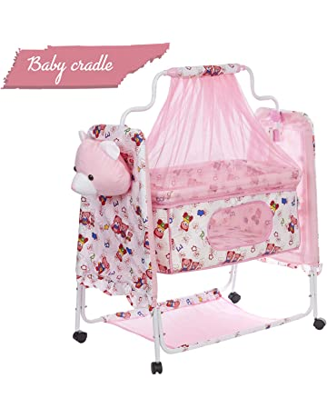 Fun Baby (FB-3004) Cozy New Born Baby Cradle , baby Swing , baby jhula , Baby palna , Baby Bedding , baby bed, Crib , Bassinet with Mattress, Pillow, Mosquito Net and Swing Lock Function for 0 - 9 months (Pink)