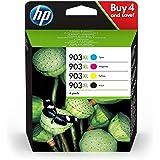 HP 903 XL Confezione da 4 Cartucce Originali, Capacità totale da 3.300 pagine, Compatibile con HP OfficeJet serie 6900, Nero/