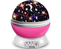 Moredig - Lampada Proiettore Stelle Bambini, Luce Notturna Bambini con 8 Colori Luci & 360° Rotazione, Luce Notte per Bambini