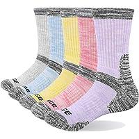 YUEDGE 5 Pairs Women's Cotton Cushion Crew Socks Athletic Sports Hiking Walking Socks Boot Socks for Women 4-11
