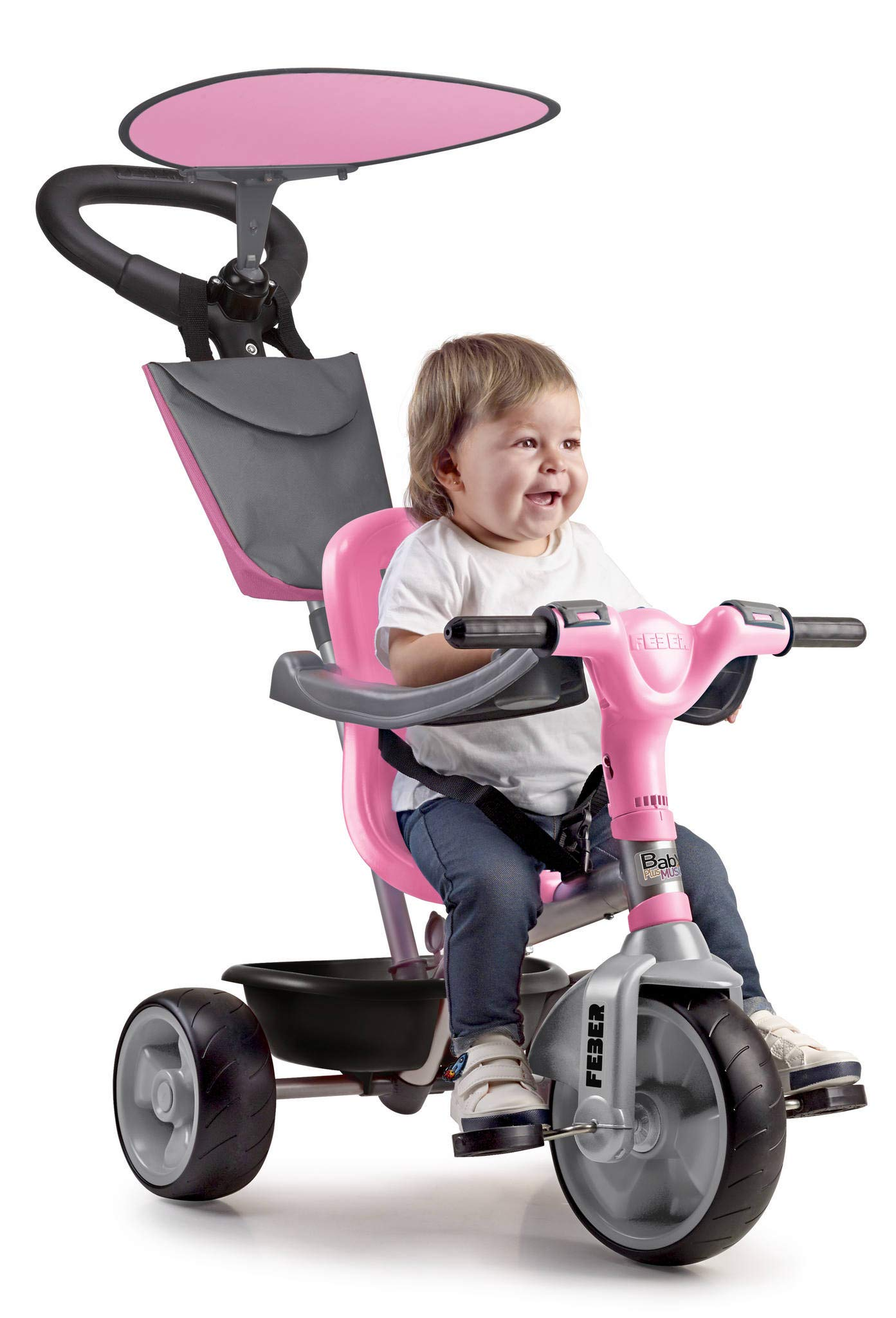 FEBER – Baby Plus Music Pink, Triciclo Rosa para niños y niñas de 9 Meses a 3 años (Famosa 800012132)