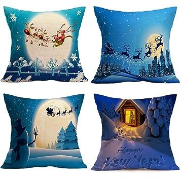 Tuopuda Christmas Throw Pillow Case Cover Blue Cotton Linen