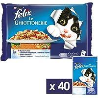 Purina Felix le Ghiottonerie Umido Gatto con Manzo e Carote e con Pollo e Pomodoro, 40 Buste da 100 g Ciascuna, 10…