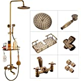 Rozin Bathroom Shower Tap Rainfall Shower Head,Hand Spray Tub Tap with Storage Shelf Double Handle Cold and Hot Water…