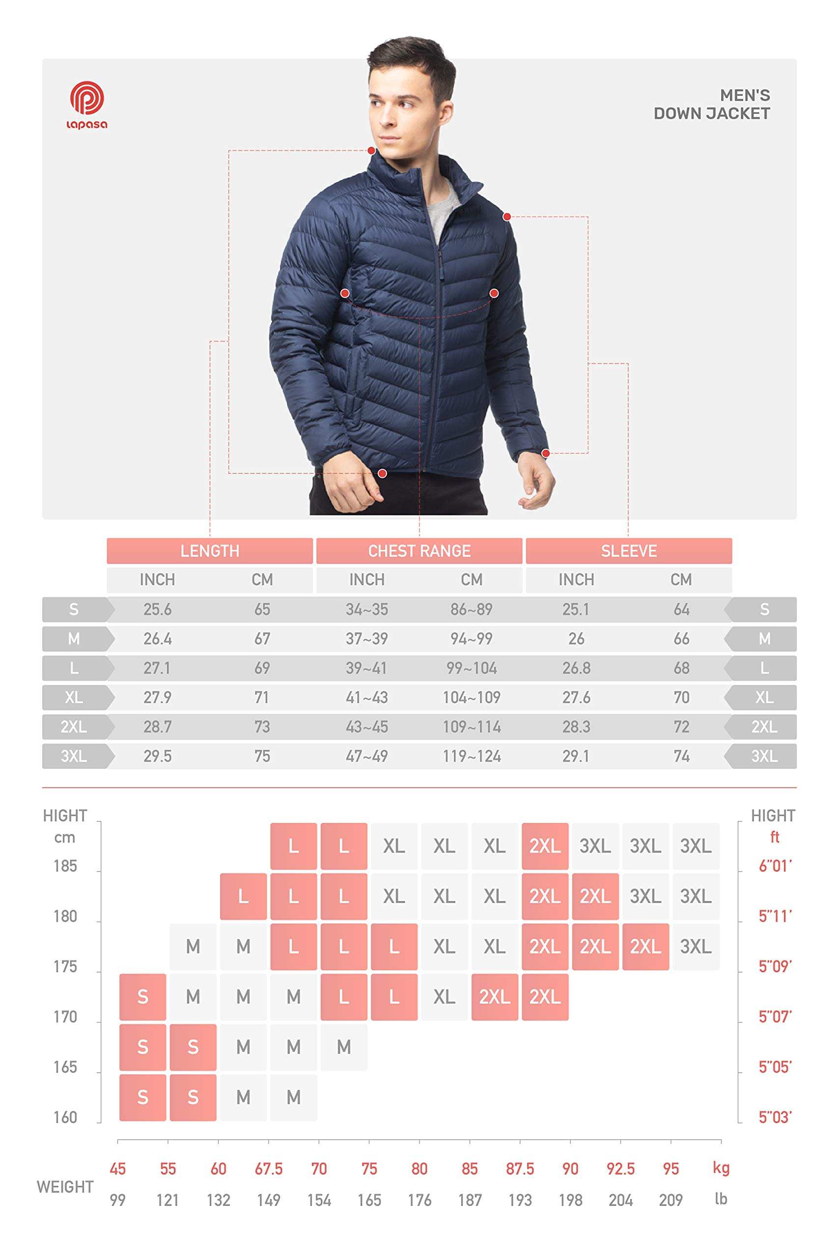 LAPASA Men's Down Jacket 600FP Packable Down Filled Jacket with Side Pockets YKK Zipped Men's Outdoor Winter Down Coats for Travel Hiking Climbing Skiing Casual M32 4