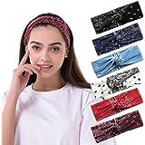 Haarband dames, 6 stuks boho hoofdband, katoenen haarband voor de zomer, elastische haarbanden, geknoopte haarband, dames haa