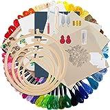 Epzia Broderi startpaket för nybörjare barn vuxna med mönster och videoinstruktioner, inkluderar stygn-guide, linnetyger, fär