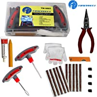 TIREWELL TW-5001 9 in 1 Universal Tubeless Tyre Puncture Kit Emergency Flat Tire Puncher Repair Patch Tool Box for Car…