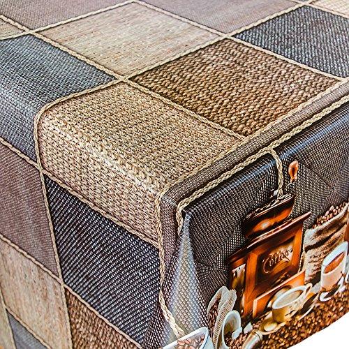 ANRO Tovaglia cerata, merce al metro, motivo chicchi di caffè con macinacaff&egrave, lunghezza a scelta, Plastica, Colori assortiti, 120x140cm