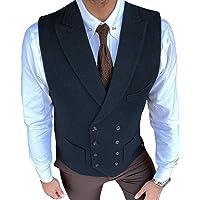 Lovee Tux Gilet da uomo vintage in tweed con doppio petto a spina di pesce, taglia unica, per matrimonio