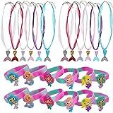 24 Piezas Sirena Fiesta Mermaid Cumpleaños Infantiles Sirena Party Set Regalo para Niños Niñas Sirena Pulsera Collana de Sili