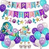 AYUQI Sirena Decoración de cumpleaños para niña, Morado Feliz cumpleaños Conjunto de pancartas Sirena Papel de Aluminio Globo