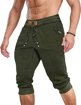 TACVASEN Men 3/4 Shorts Cotton Joggers Shorts Casual Sports Shorts Summer Gym Shorts with Zip Pockets
